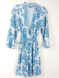 Grey and Teal Blue Bath Robe (D15)